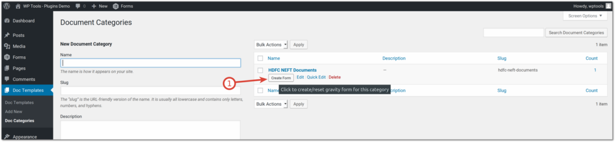 Document Automation - Create gravity form from document category listing page