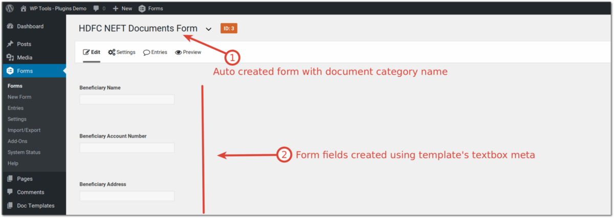 Document Automation - Single click gravity form creation