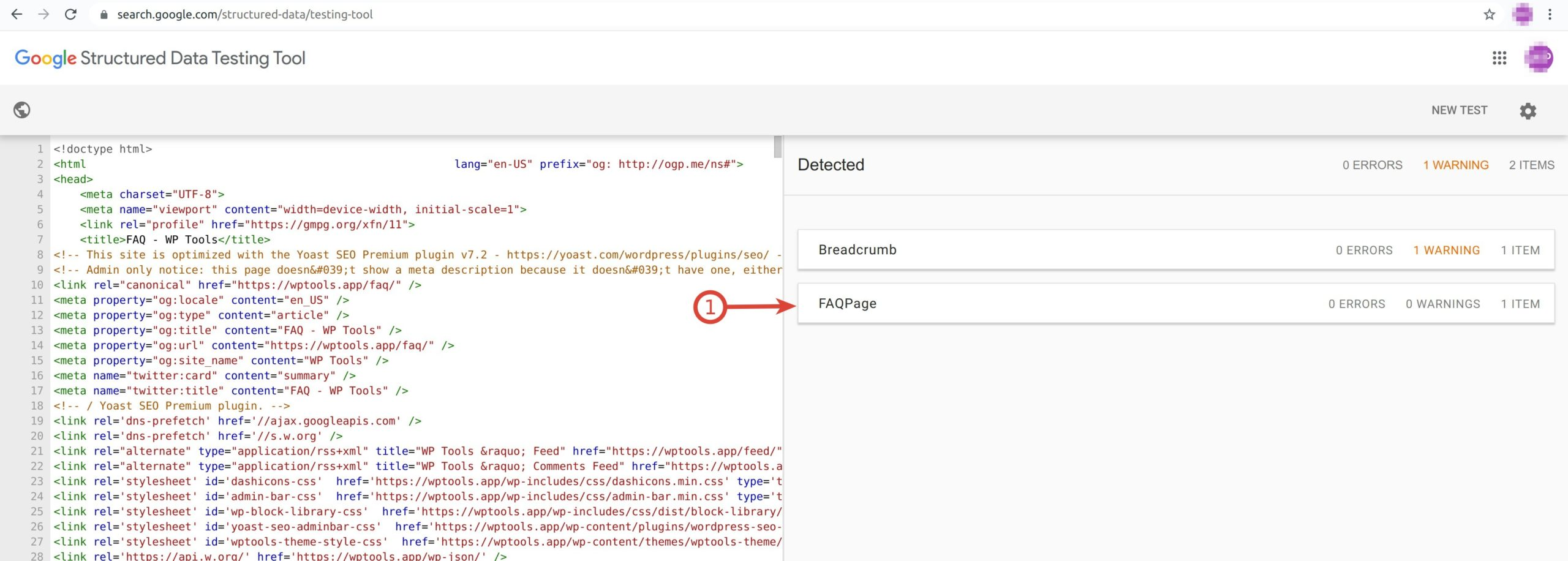 Google Structured Data Testing Tool - FAQ Schema via Code Snippet