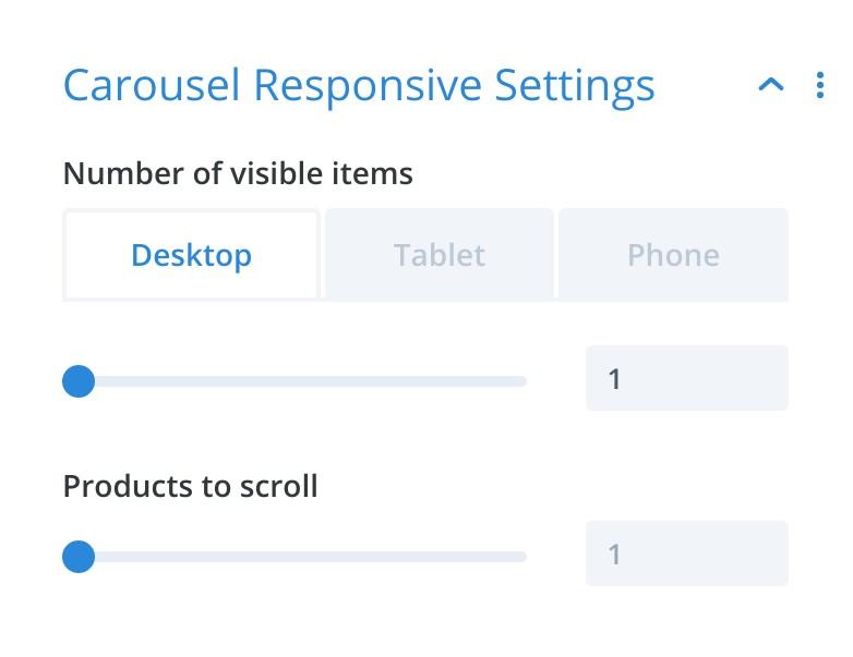 Carousel Responsive Settings - Divi Product Carousel