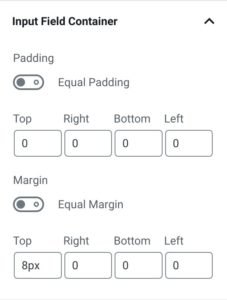 Input Field Container Settings