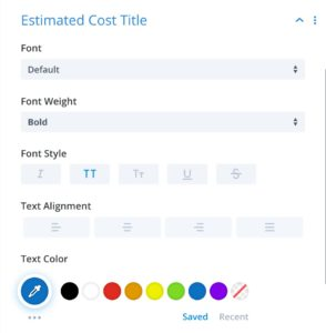 Estimated Cost Title Section - Divi Module