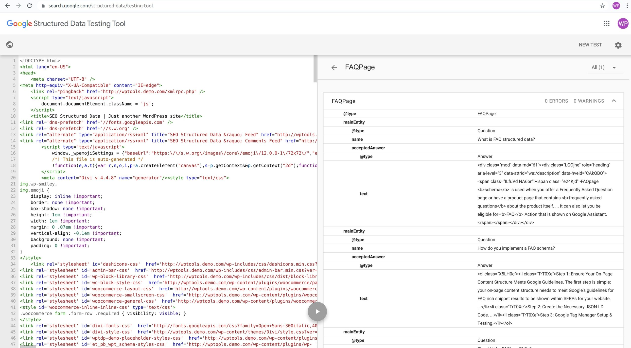FAQPage Schema - Google Structured Data Testing Tool - WordPress Schema Plugin