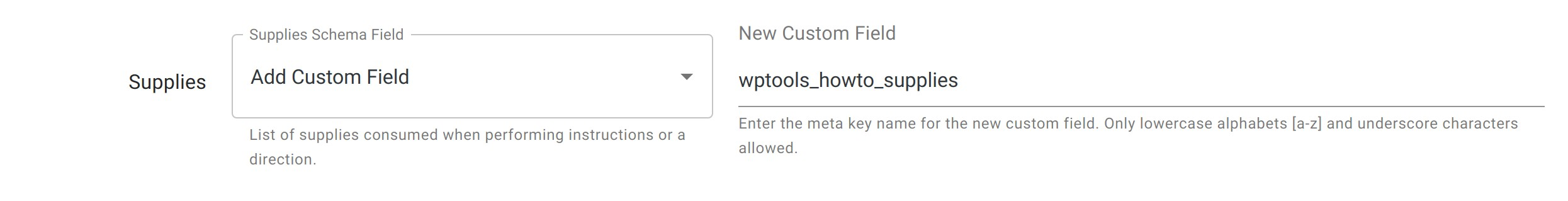 Supplies Field - HowTo Schema - WordPress Schema Plugin