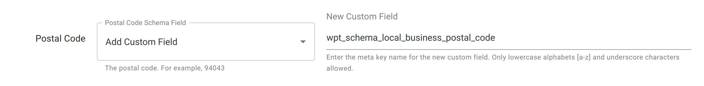Postal Code - Local Business Schema - WordPress Schema Plugin