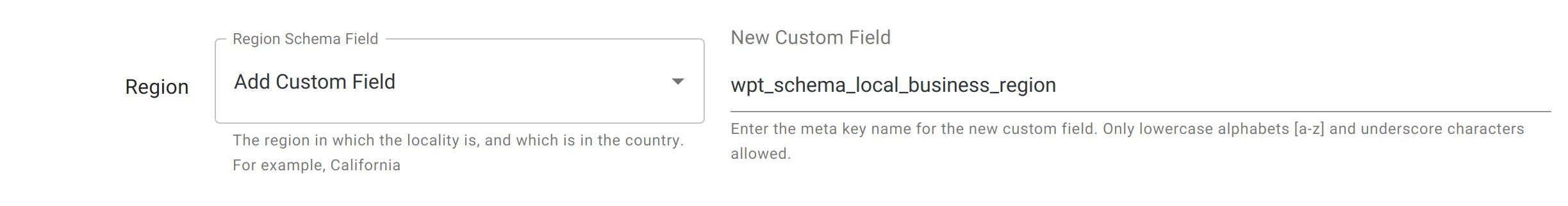 Region - Local Business Schema - WordPress Schema Plugin