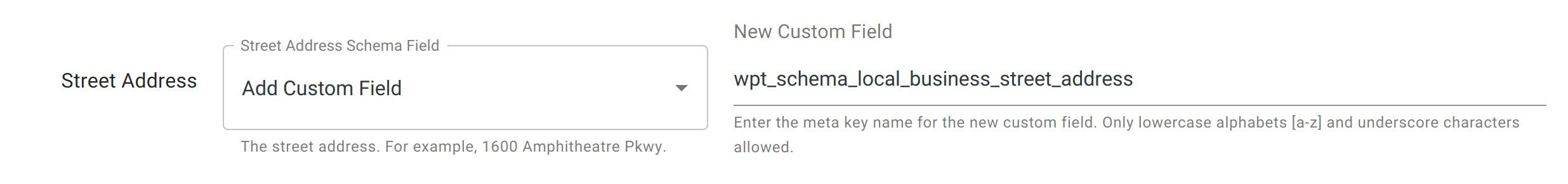 Street Address - Local Business Schema - WordPress Schema Plugin